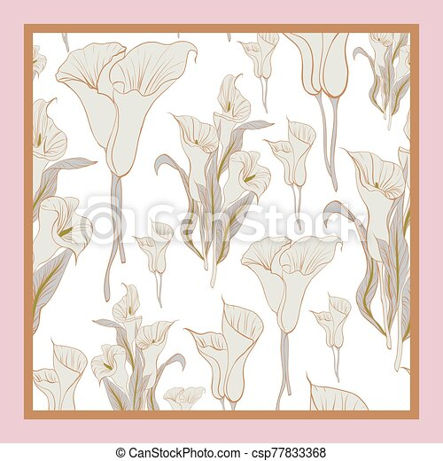 Delicate colors of silk scarf with flowering callas. - csp77833368