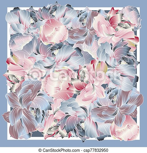 Delicate colors of silk scarf with flowering peony. - csp77832950