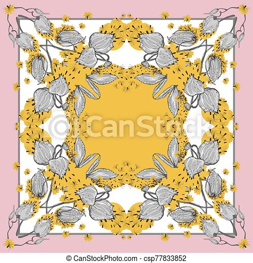 Delicate colors of silk scarf with flowering asclepias syriaca . Pink, yellow and white. - csp77833852