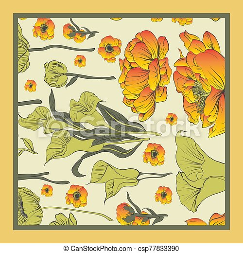 Delicate colors of silk scarf with flowering. - csp77833390