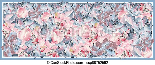 Delicate colors of silk scarf with flowering peony. Abstract vector pattern with hand drawn floral elements. Trend colorful silk scarf with flowers. Size 180x70. Pink, blue, violet and white. Batik technique. - csp88752592
