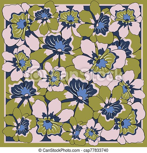 Delicate colors of silk scarf with flowering flowers. - csp77833740