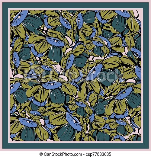 Delicate colors of silk scarf with flowering peony. - csp77833635