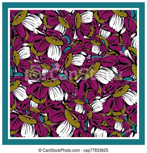 Delicate colors of silk scarf with flowering peony. - csp77833625