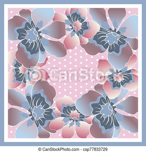 Delicate colors of silk scarf with flowering flowers. - csp77833729