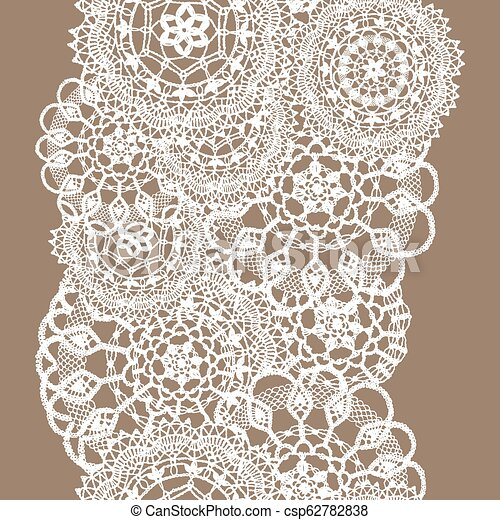 Delicate knitted lace of round doilies, seamless pattern - white silhouette on beige background - csp62782838