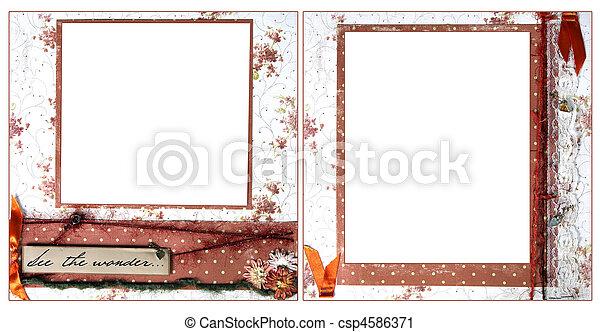 delicate orange scrapbook frame template csp4586371