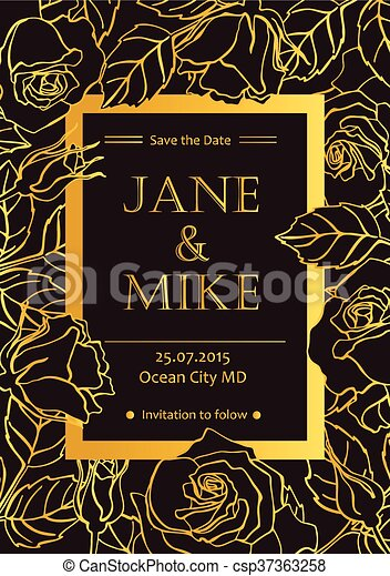 Delicate Wedding Invitation Card Template With Line Roses In Gold Color