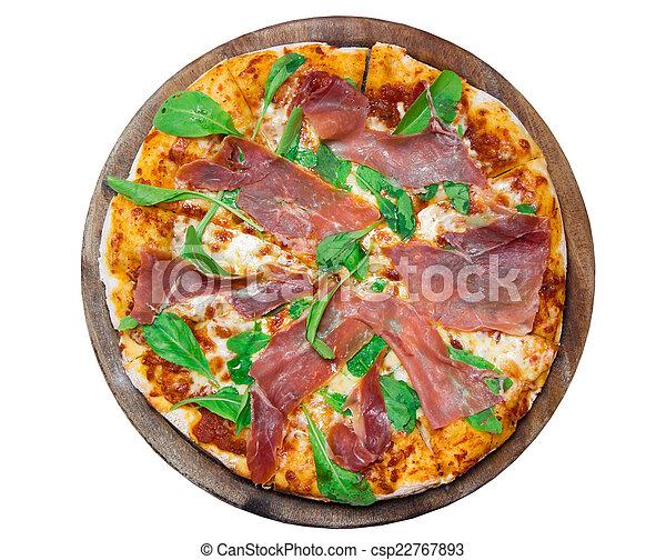 Una deliciosa pizza italiana en una mesa de madera - csp22767893
