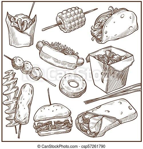Ricos y deliciosos platos de comida rápida gran colección de monocromos - csp57261790