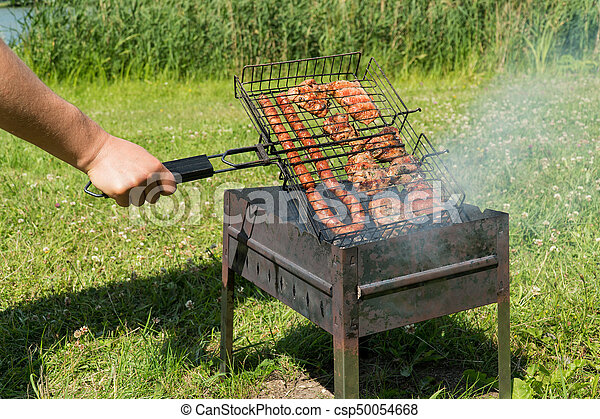 Delicious Bbq Kebab Grilling On Open Grill Outdoor Kitchen Tasty