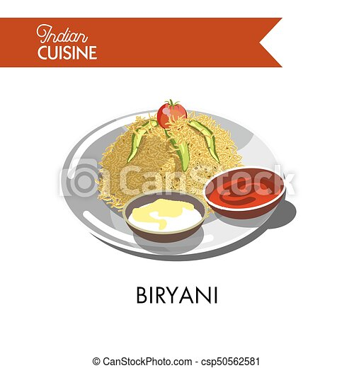 Delicious biryani with creamy and hot sauces on plate - csp50562581
