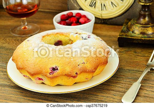 Delicious Cake with Raisins and Cranberries - csp37675219