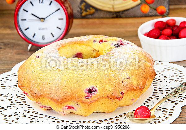 Delicious Cake with Raisins and Cranberries - csp31950208