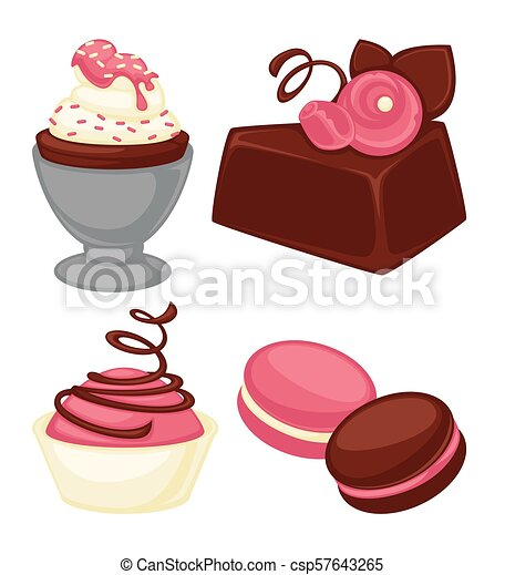 Delicious cakes, soft muffins and crispy macaroons set - csp57643265