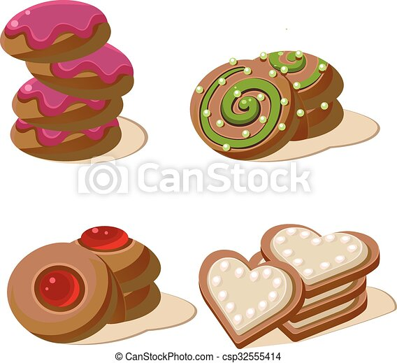 Delicious Cookies. Set of Cartoon Vector Icons. - csp32555414