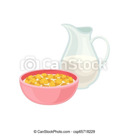 Delicious corn flakes in pink bowl and fresh milk in glass jug. Tasty meal. Healthy breakfast. Flat vector design - csp65718229