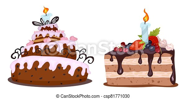 delicious cream colored cakes painted on the day of birth - csp81771030