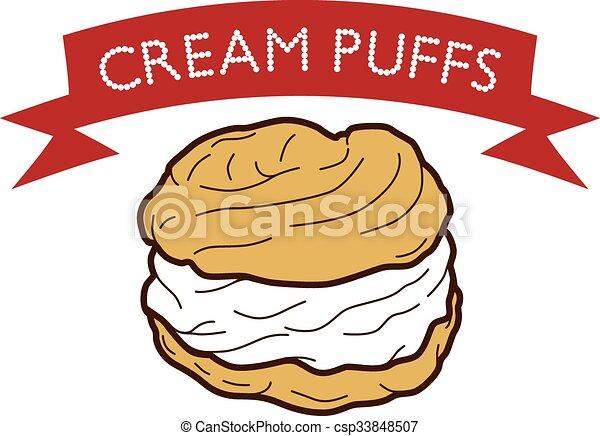 Delicious Cream Puff Cream Puff Cake Pastry Theme Vector