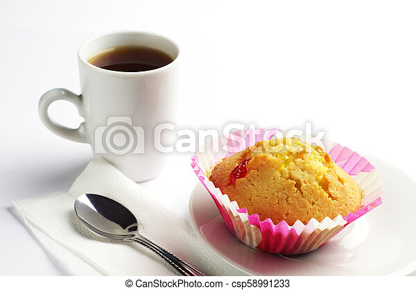 Delicious cupcake and coffee - csp58991233