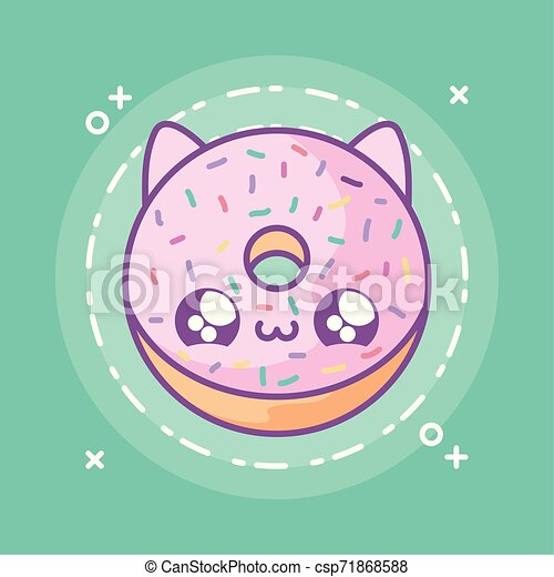 delicious donut with face cat kawaii style - csp71868588