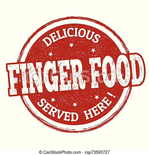 Delicious finger food sign or stamp - csp73593727