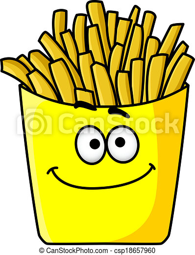Delicious golden crispy French fries in a packet - csp18657960
