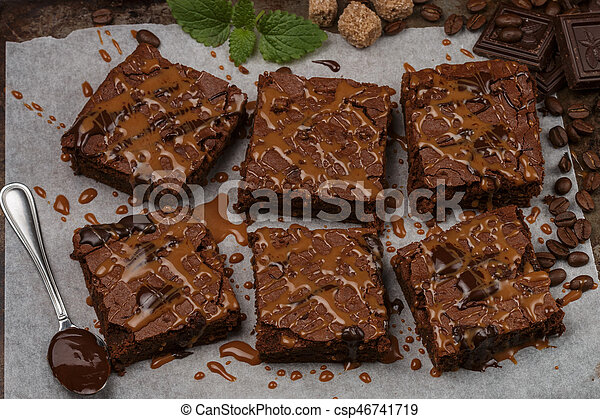 Delicious Homemade Brownie With Chocolate Sauce And Caramel On The