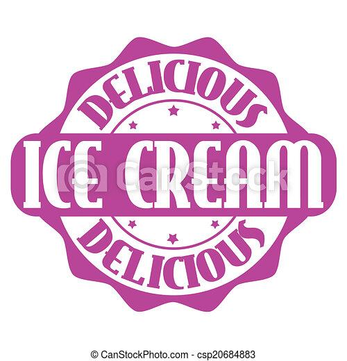 Delicious ice cream stamp or label - csp20684883