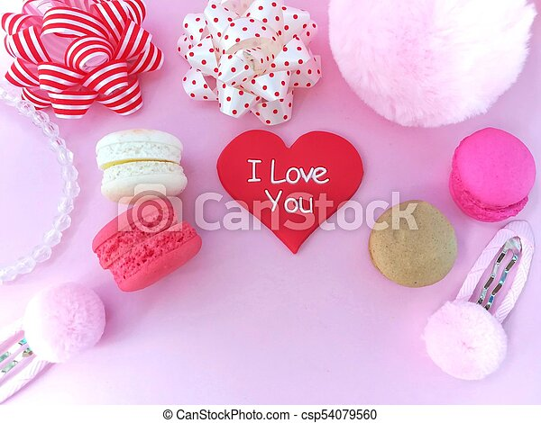 Delicious Macaroon Red Heart Cute Accessories Beautiful Wallpaper Pink Background Delicious Macaroon And Heart Hair Clib