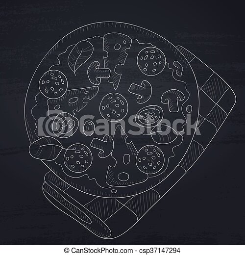 Delicious pizza with salami. - csp37147294