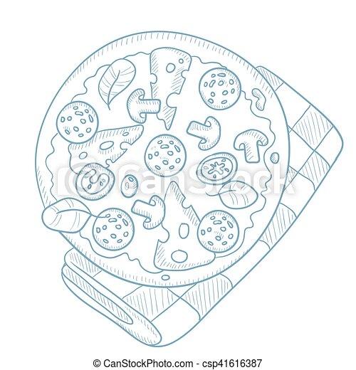 Delicious pizza with salami. - csp41616387
