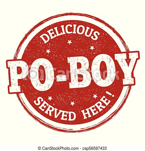 Delicious Po-Boy sign or stamp - csp56597433