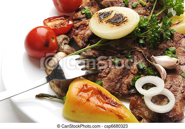 Delicious prepared and decorated food on table - csp6680323
