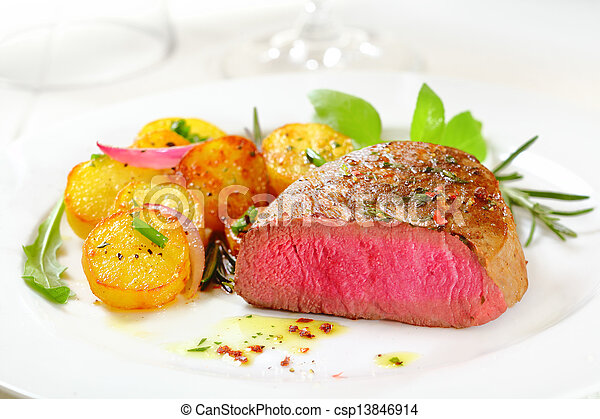 Delicious rare fillet steak - csp13846914