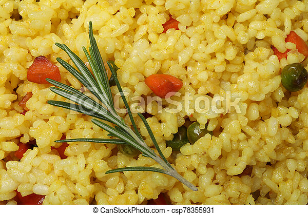 Delicious rice with vegetables background, close up - csp78355931