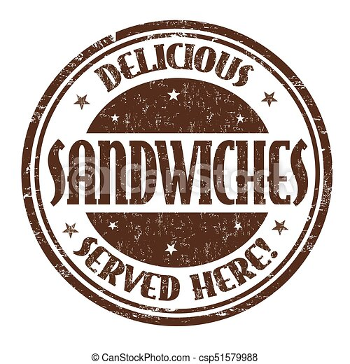 Delicious sandwiches sign or stamp - csp51579988