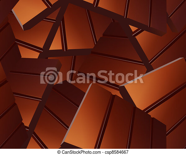 Delicious Sparse chocolate bars background - csp8584667