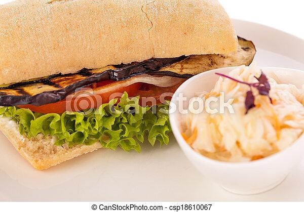 delicious vegan vegetarian burger with grilled eggplant - csp18610067