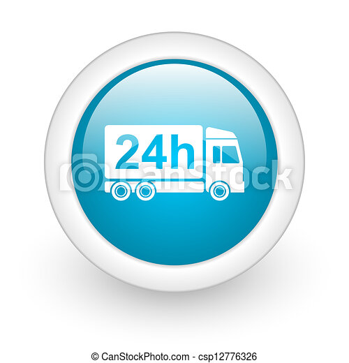 delivery 24h blue circle glossy web icon on white background - csp12776326