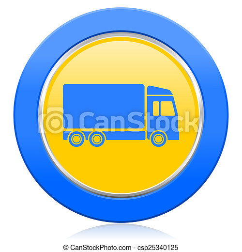 delivery blue yellow icon truck sign - csp25340125