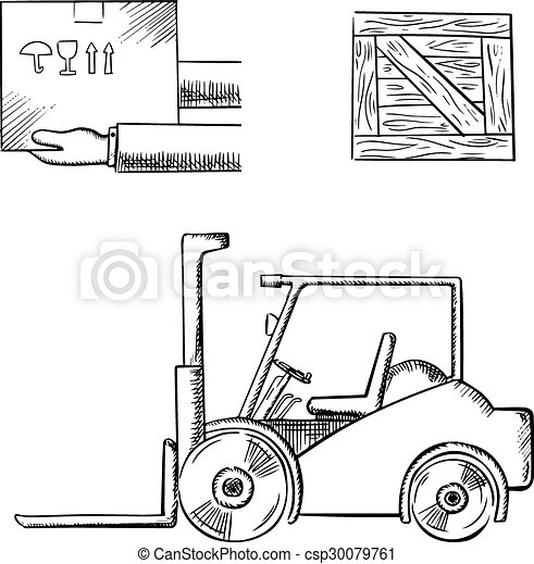 Delivery box, crate and forklift truck - csp30079761
