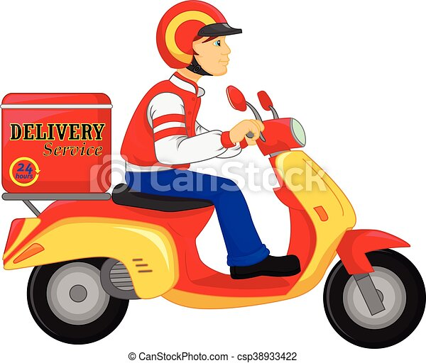delivery boy ride motorcycle delivery boy ride scooter vector rh canstockphoto com clipart delivery van clipart delivery truck