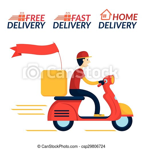 free motorcycle shipping  Delivery boy ride scooter motorcycle service. Order, worldwide ...