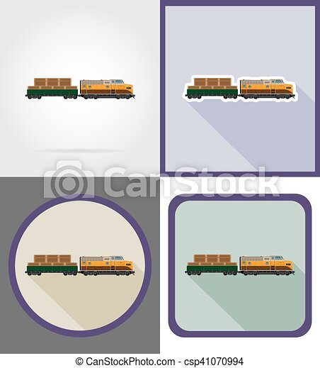 delivery by rail train flat icons vector illustration - csp41070994