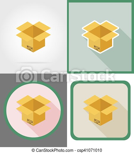 delivery cardboard box flat icons vector illustration - csp41071010
