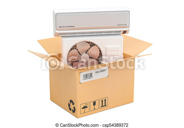 Delivery concept, air conditioner inside cardboard box  3D rendering