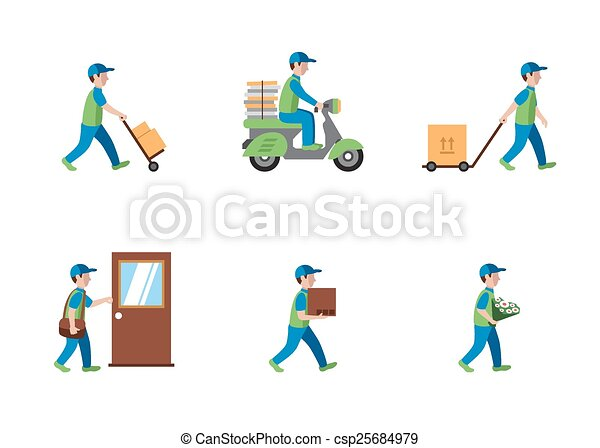 Delivery, courier, logistics flat style - csp25684979