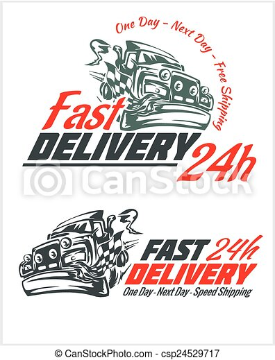Delivery elements. Gray and red shipping signs collection. - csp24529717