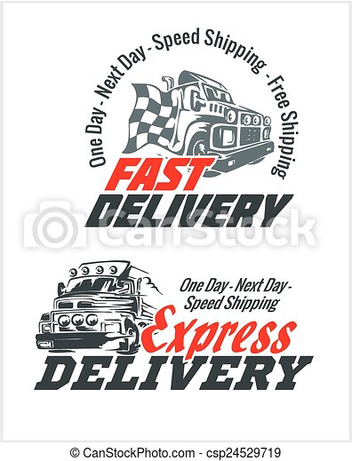 Delivery elements. Gray and red shipping signs collection. - csp24529719